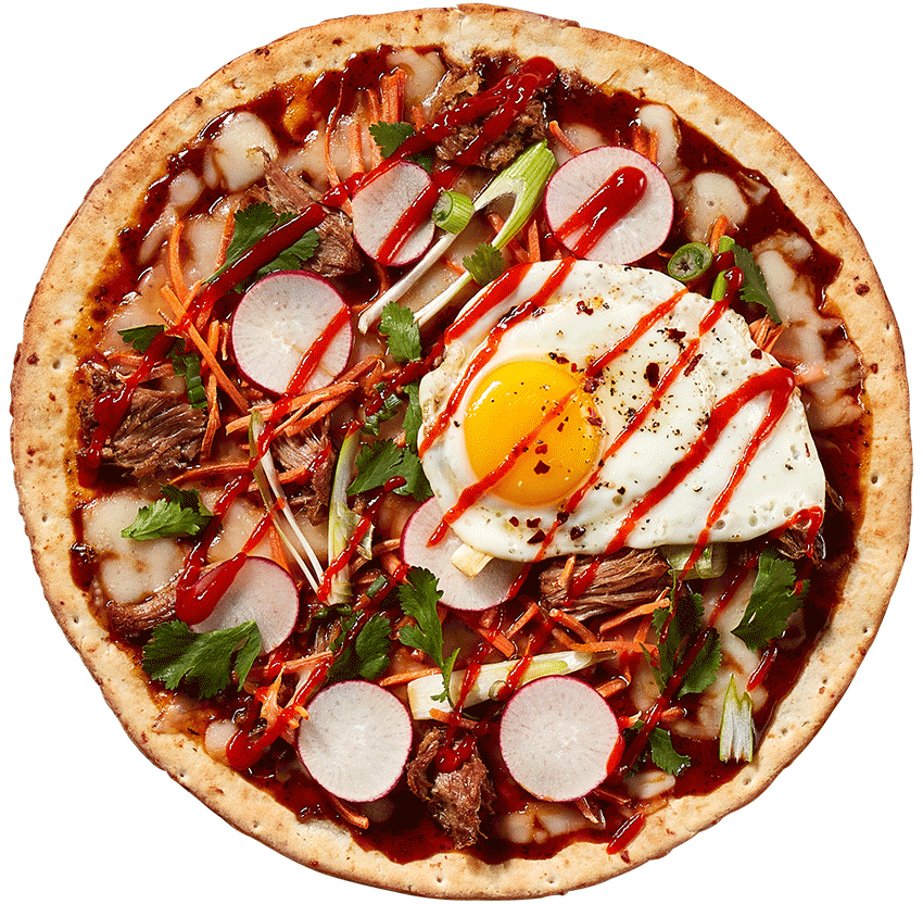 Gluten Free crust with Bahn MI toppings A sweet and spicy Korean BBQ sauce tops our signature par-baked pizza crust and is embellished with shredded mozzarella, tender pulled pork, fresh carrot shreds and a farm fresh cracked egg cooked to perfection and topped with fresh green onion, fresh cilantro and drizzled with sriracha